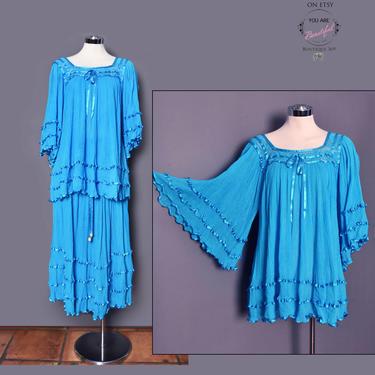 Blue SET Blouse & Skirt, Vintage Dress, Hippie, Boho, 1970's Flared Angel Sleeves Top Shirt Full Skirt Gauze Cotton, Medium by Boutique369