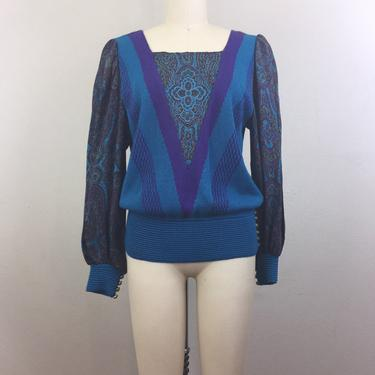 Vintage 80s 90s Blue Teal Abstract Paisley Sweater Umi Collections 1980s 1990s M by FlashbackATX