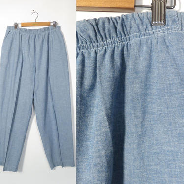 Vintage 80s/90s High Waist Lightweight Chambray Cotton Elastic Waist Straight Leg Cropped Pants Made In USA Size L by VelvetCastleVintage