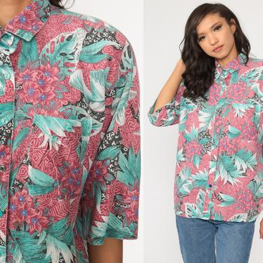 Tropical Floral Shirt Green Pink Hawaiian Blouse Button Up 80s Vintage Surfer Vacation Short Sleeve Leaf Print Retro Top 90s Medium Large by ShopExile