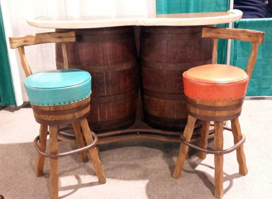 Whiskey Barrel Bar Rustic Western Swivel Bar Stools Wooden Barrel Bar Country Saloon Home Pub