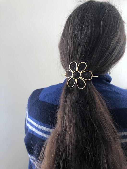 Daisy Flower Hair Pin Set Hair Slider Bun Holder Hair Barrette Bun Pin Set by RachelPfefferDesigns