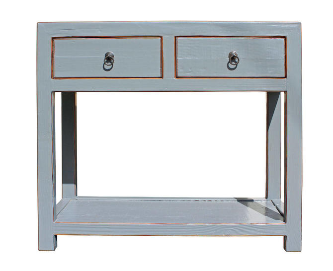 Chinese Gray Raw Wood Plain 2 Drawers Side Table cs2570E by GoldenLotusAntiques
