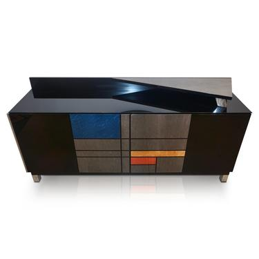 1976 Italian Black Lacquer Silver Grey Blue Mondrian Decor Bar Sideboard/Cabinet