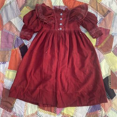 Early antique victorian Red Dress Coat Child Or Large Doll Wool Embroidery Ruch