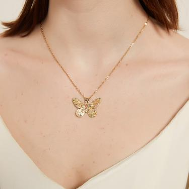rowan gold butterfly pendant necklace, cz rainbow color butterfly necklace, butterfly charm necklace, butterfly charm pendant necklace, gift by MelangeBlancDesigns