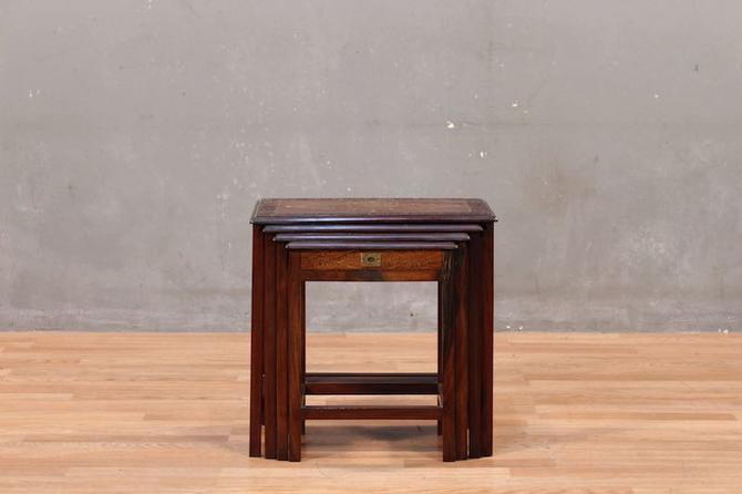 Set of 4 Ornate Carved Teak Nesting Tables