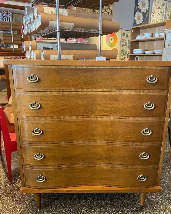 "Walnut veneer midcentury modern chest of drawers, 40""L x 18""W x 43""T"