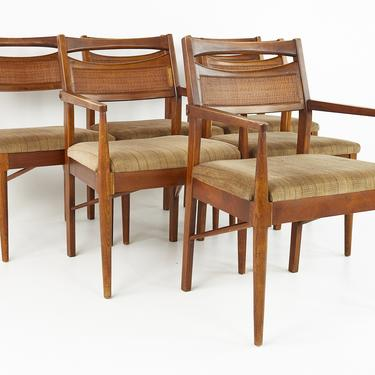 American of Martinsville Mid Century Cane Back Walnut Dining Chairs - Set of 6 - mcm by ModernHill