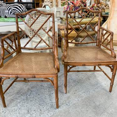 Pair for Faux Cane and Bamboo Chippendale Arm Chairs