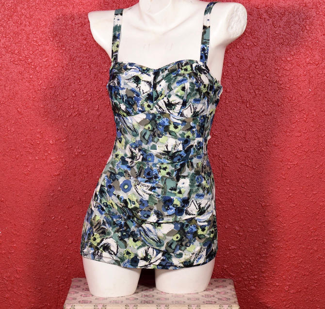 1950s 60s Maidenform Swimsuit Floral Draped One Piece by THEGIRLCANTHELPITUSA