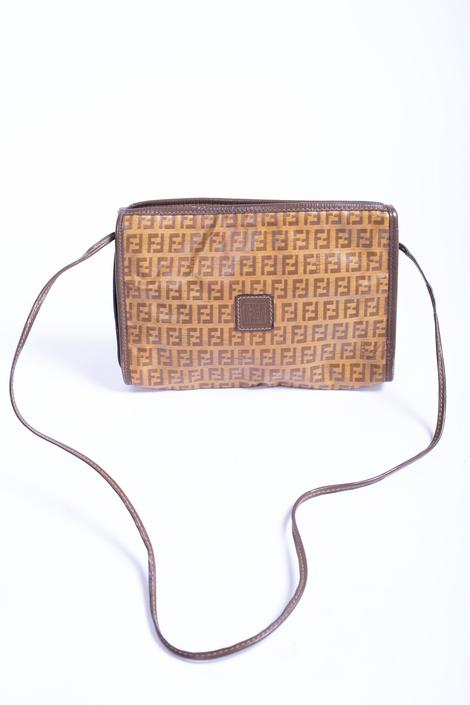 Vintage FENDI 1980s Crossbody Zucchino Print Coated Canvas Bag Logo FF Brown Beige 80s Zucca by backroomclothing