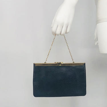 Vintage 1980s Etra Navy Blue Genuine Leather Convertible Clutch by timelesspieces