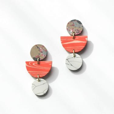 Rover & Kin Geo Clay Earrings in Peach
