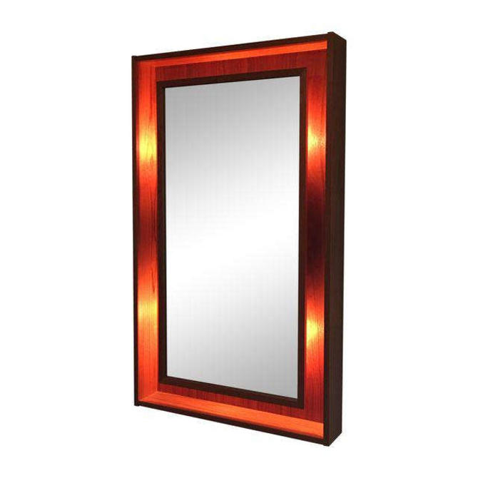 Modern Denmark Danish Teak Lighted Mirror By Pedersen & Hansen by Marykaysfurniture