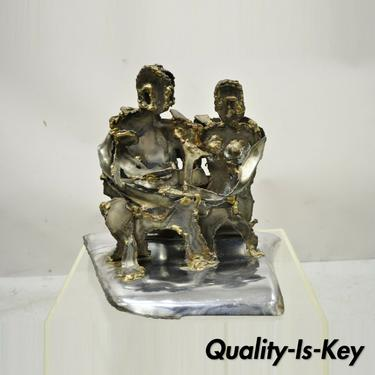Vintage Brutalist Mid Century Steel Metal Family Table Sculpture Signed Hardy