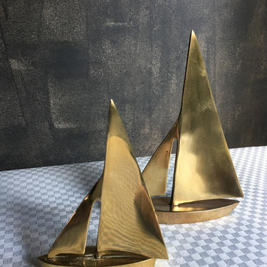 Vintage Brass Sailboats Pair of Two by BellewoodDesignGoods