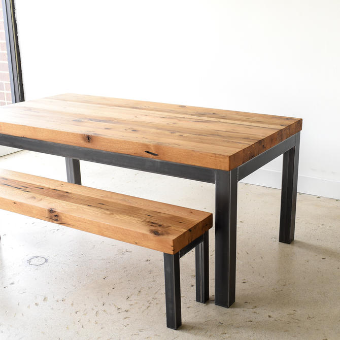"3"" Thick Reclaimed Wood Kitchen Table / Industrial Dining Table by wwmake"