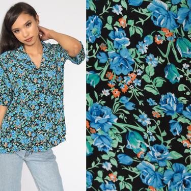Blue Floral Blouse 80s Button Up Shirt Short Sleeve Top Boho 1980s Vintage Bohemian Large xl l by ShopExile