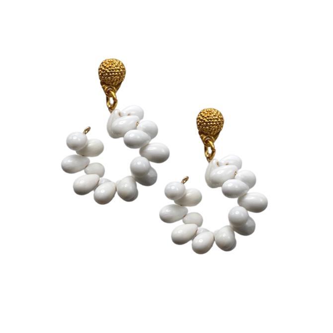 White Agate Hoop Earring