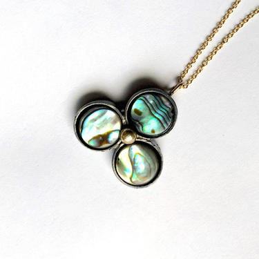 Abalone Trio Pendant in Sterling Silver and 14k Gold by RachelPfefferDesigns