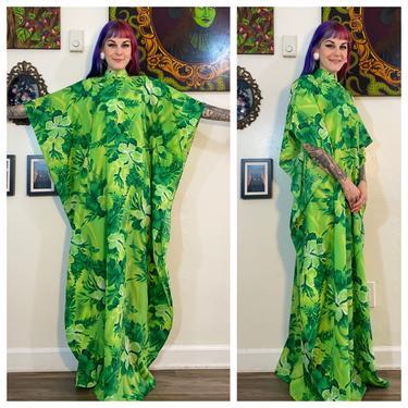 Vintage 1980's Green Hawaiian Kaftan Dress by SurrealistVintage