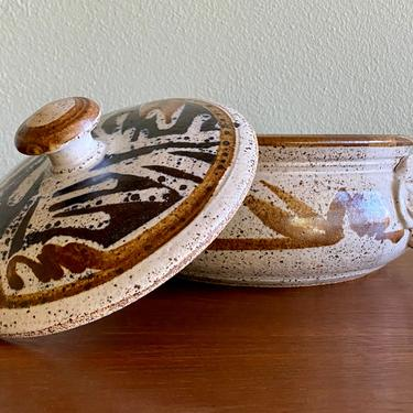 Vintage John Schulps casserole covered dish / mid century signed California pottery by EarthshipVintage