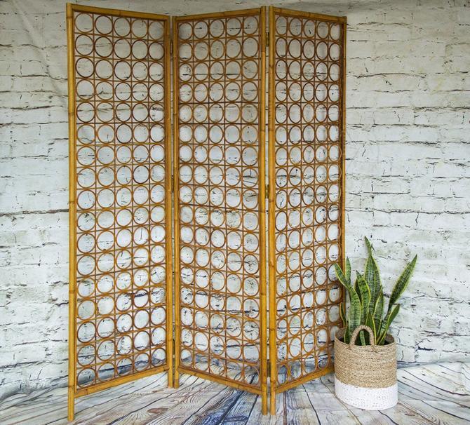 SHIPPING NOT FREE!!!Vintage Wicker Room Divider/Bamboo Room Divider/Screen/ Headboard/Wall Art by WorldofWicker