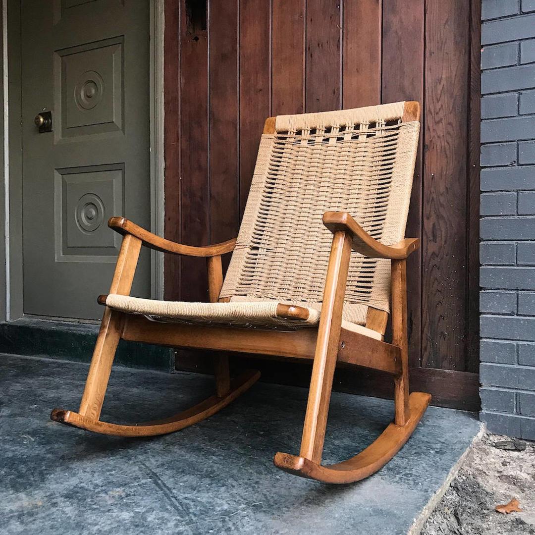 Vintage Wegner Style Jute Rope Rocking Chair Danish Mid