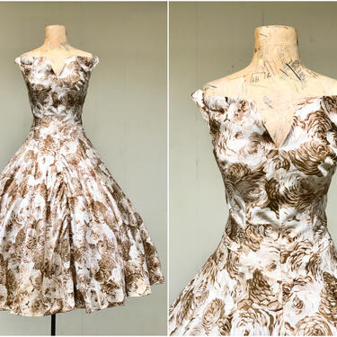 """Vintage 1950s Brown Rose Print Full Skirt Party Dress, 50s Sleeveless Off Shoulder Rockabilly Pin-Up Style, New Look Frock, Small 34"""" Bust by RanchQueenVintage"""