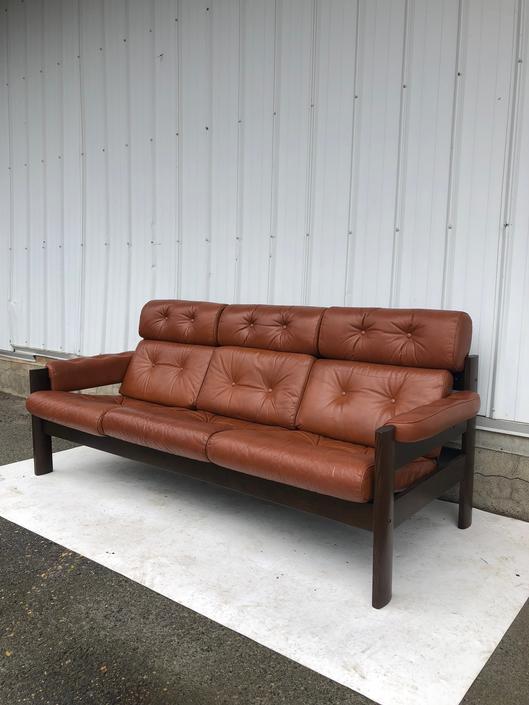 Mid Century Scandinavian Leather & Teak Sofa