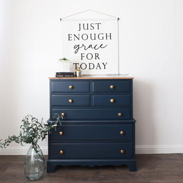 Navy Blue Dresser - Modern Furniture  - Painted Furniture - Painted Dresser - Farmhouse Style - Tall Dresser - Vintage Furniture - Chest by ARayofSunlight