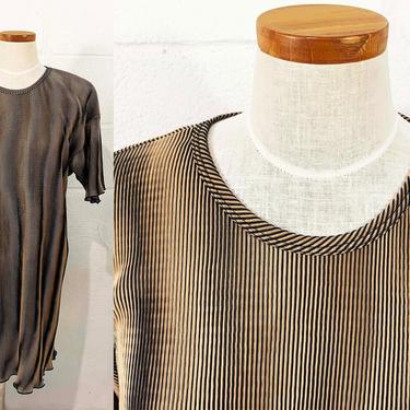 Vintage Striped Brown Dress Black Code USA Tunic 90s 1990s Short Sleeve Scoop Neck USA Minimalist Basic Boho Classic Tunic Medium Large XL by CheckEngineVintage