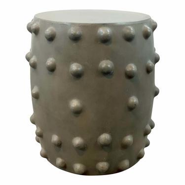 Modern Brutalist Style Gray Ceramic Thracian Stool