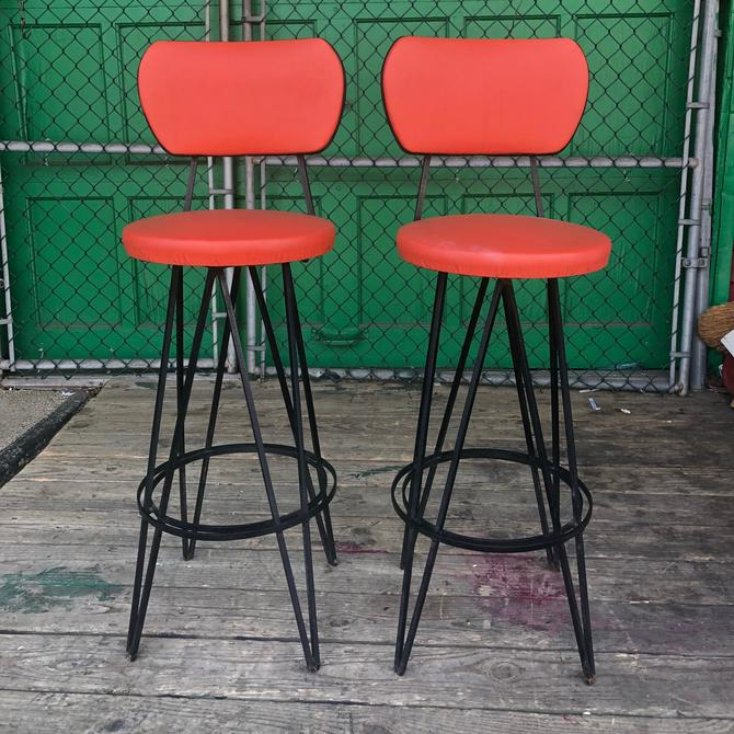 Pair mid century bar stools w/ wrought iron bases