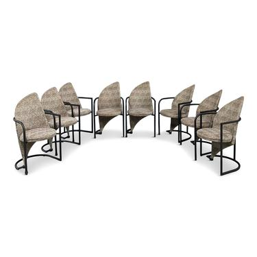 Post Modern Set of Eight Dining Chairs in Iron and Cheetah Print by Cal Style