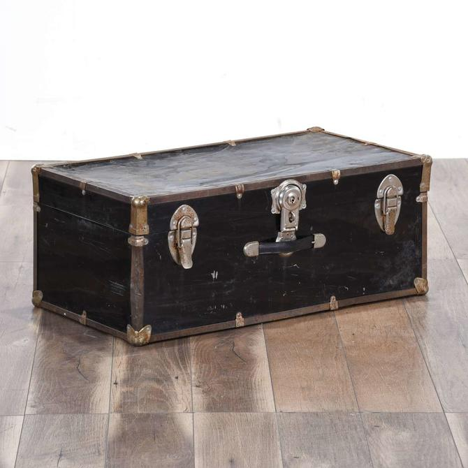 Antique Rustic Black Steamer Trunk