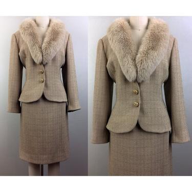 Vintage VICTOR COSTA 2 Piece Suit Jacket Skirt Fur Collar Gold Tan Knit Sparkle 80s 90s M by FlashbackATX