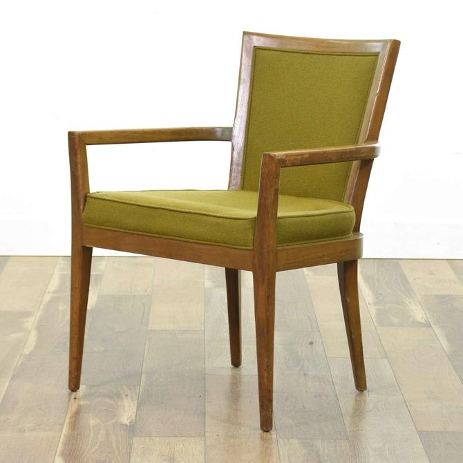 Mid Century Modern Olive Walnut Accent Chair