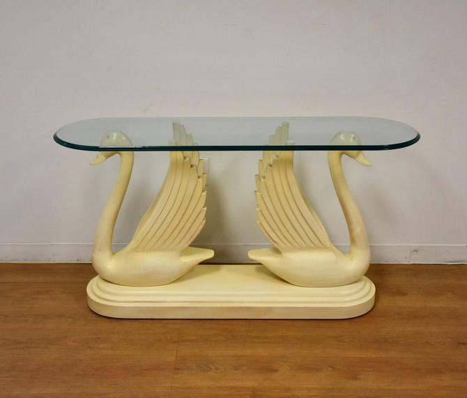 Double Swan Glass Sofa Table by mixedmodern1