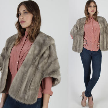 Vintage 60s Silver Mink Stole / Womens Small Grey Mink Fur Bolero / 1960s Luxurious Plush Mother Of The Bride Cape by americanarchive