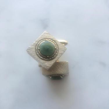 Vintage Dante Square Textured Goldtone Cufflinks With A Green Stone | Vintage Cufflinks | Men's Cufflinks | Green Jade Cufflinks by LedbellyVintage