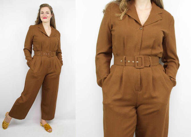 Vintage 80's 90's Brown Wool Jumpsuit / 1990's SISLEY Jumpsuit / Long Sleeve / Workwear / Women's Size Small by RubyThreadsVintage