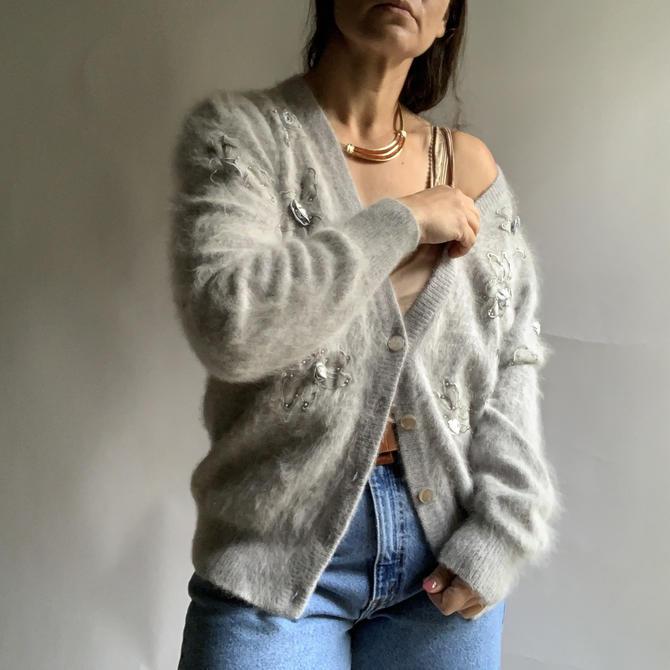 Vintage Soft Grey Angora Cardigan Sweater, Size Large by Northforkvintageshop