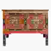 Tibetan Oriental Black Orange Red Floral End Table Nightstand Side Table cs4908S