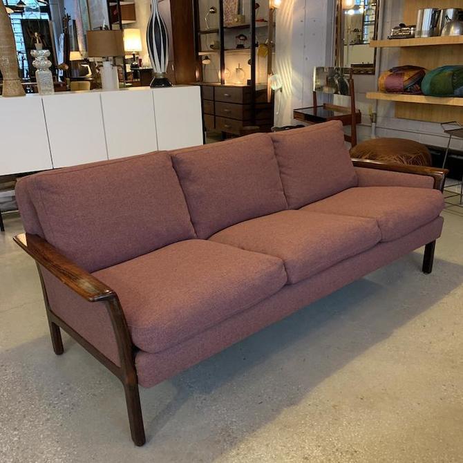 Danish Modern Rosewood Framed Upholstered Sofa by Hans Olsen, Vatne, Norway-