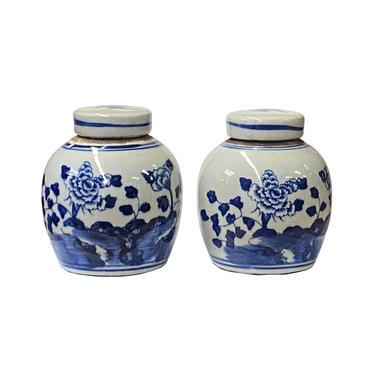 Pair Blue White Small Oriental Flowers Porcelain Ginger Jars ws1379E by GoldenLotusAntiques