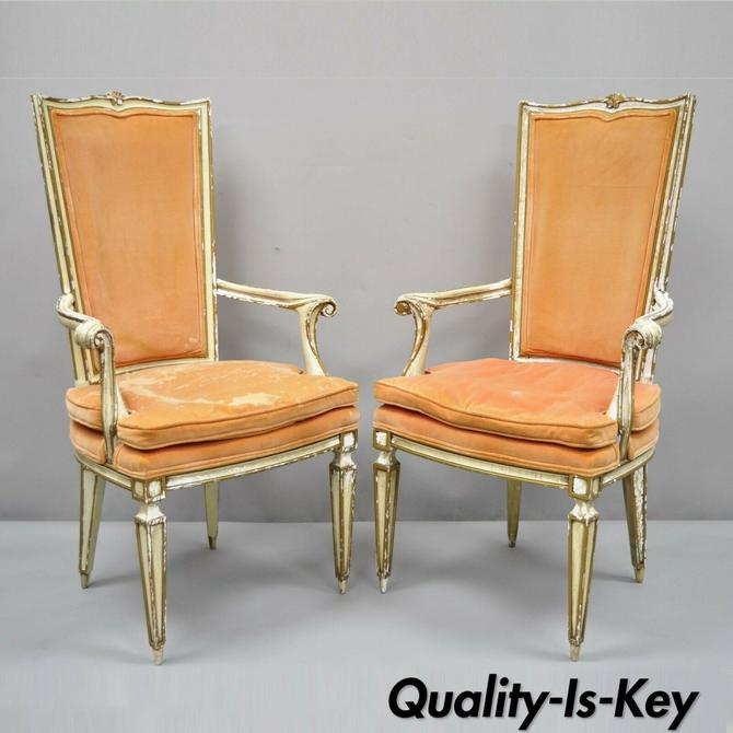 Pair of Karges Italian Venetian Cream & Gold Distress Painted Dining Arm Chairs