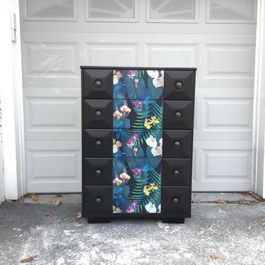 Tall solid wood vintage dresser || Black dresser || Furniture art by FolkloveStudio