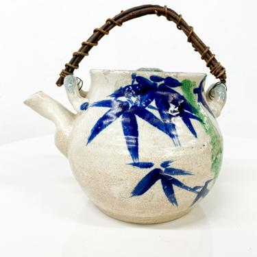 Decorative Modern Japanese Pottery Tea Pot Hand Decorated Cane Handle. by AMBIANIC